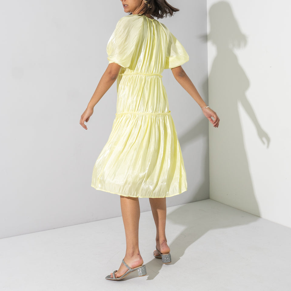 Yellow 3 Tier Midi Dress*