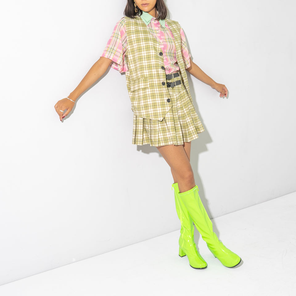 Green Checked Pleated Skirt Set*
