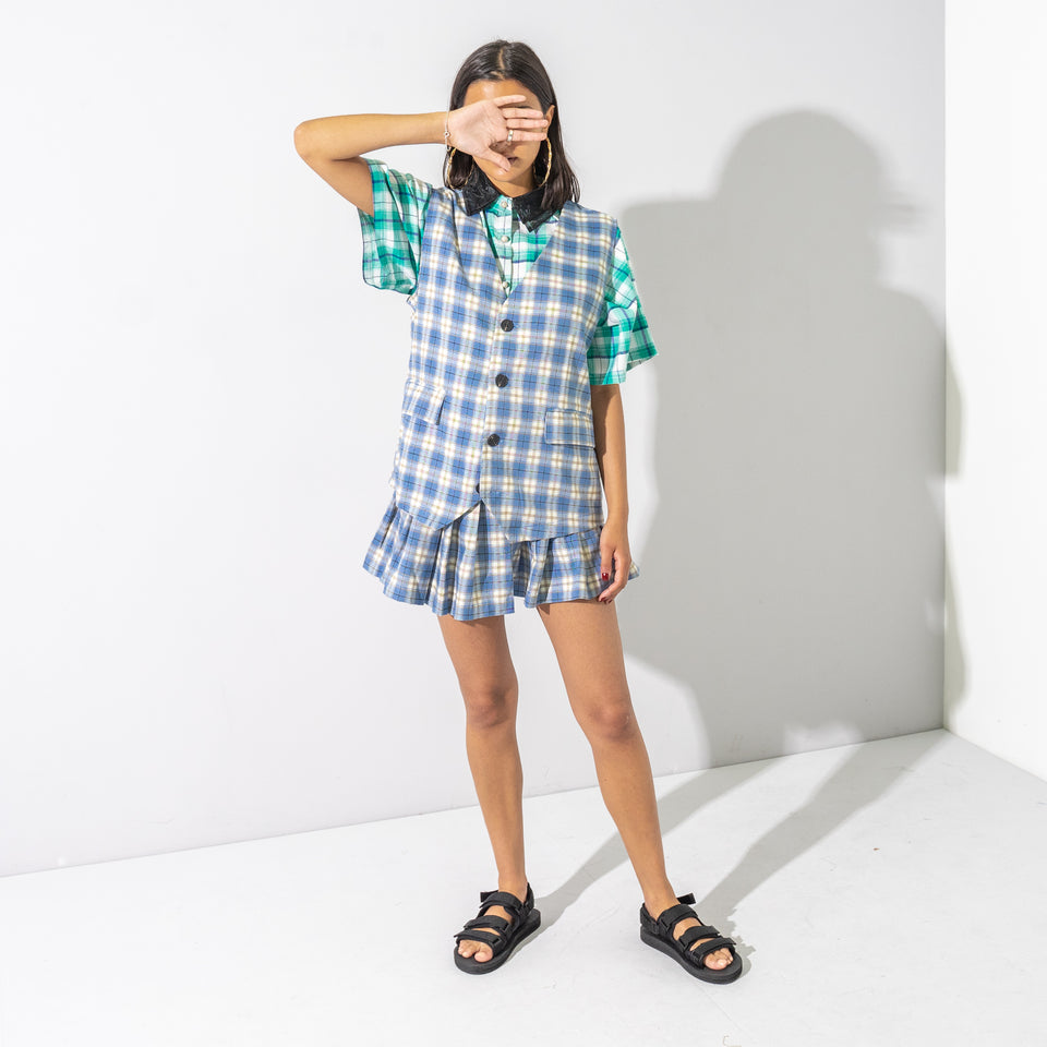 Blue Checked Pleated Skirt Set*