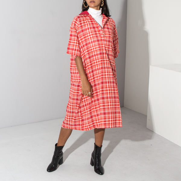 Red Checked Oversized T-Shirt Dress*