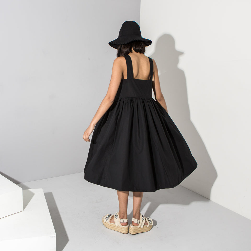 Black Full Skirt Midi Dress**