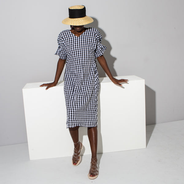 Gingham Knot Back Dress*