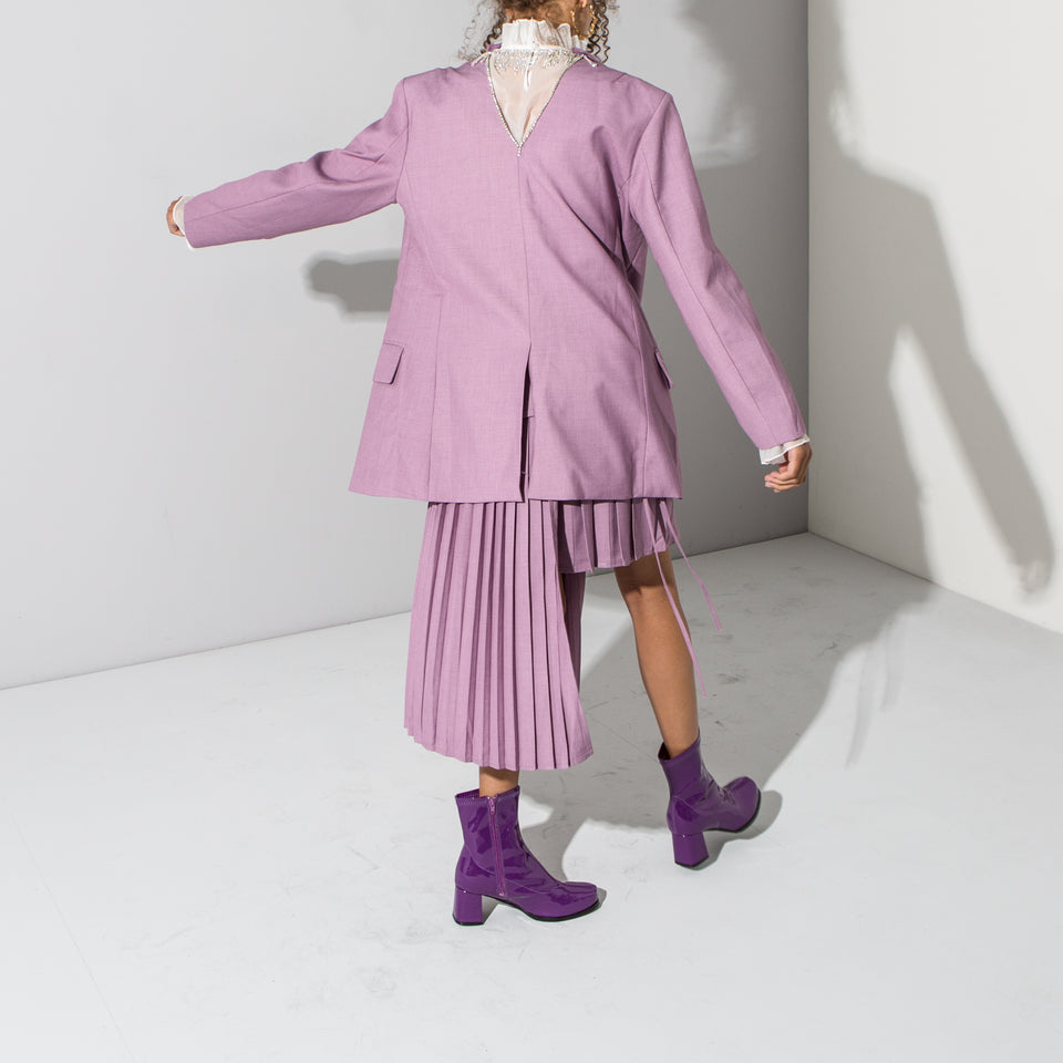 Lilac Asymmetric Pleated Skirt*