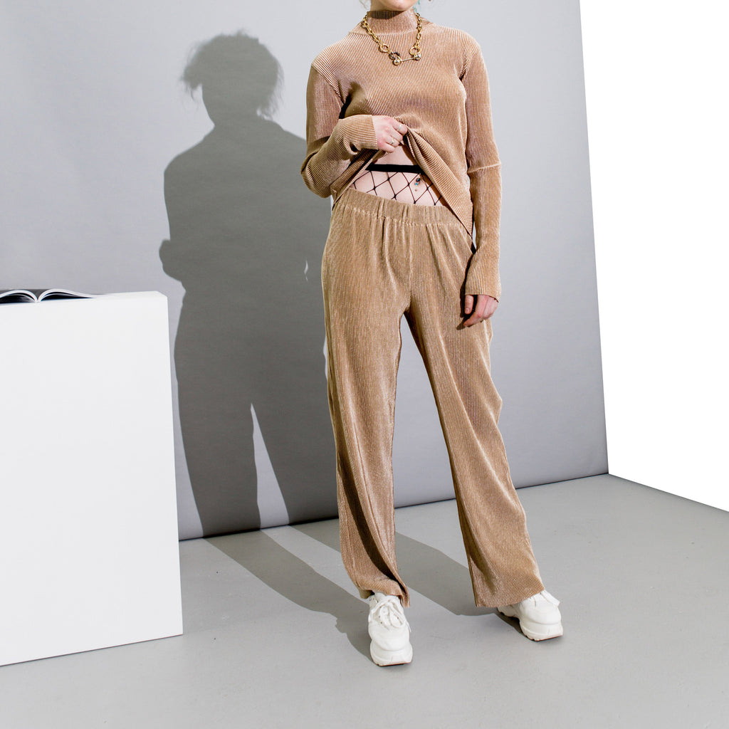 Ribbed Shimmer Trousers