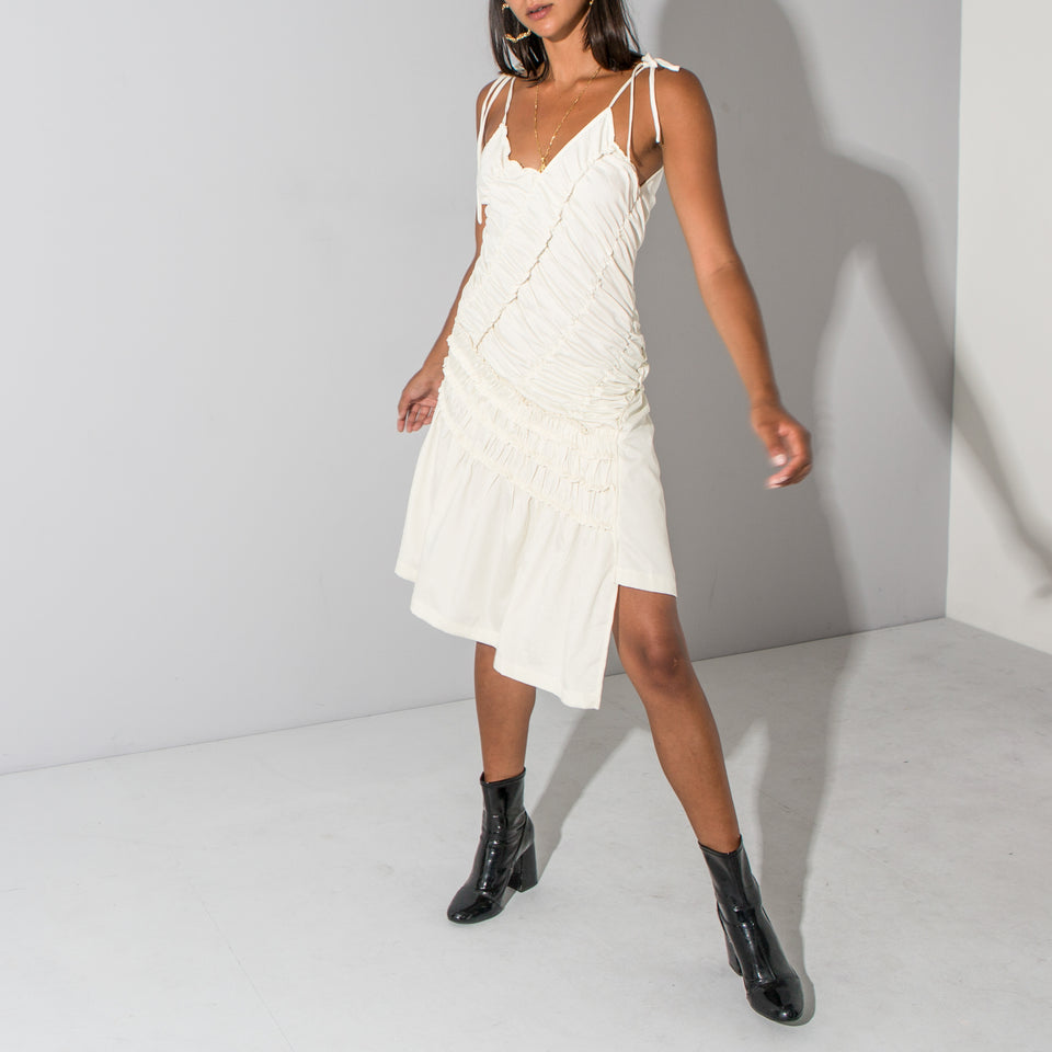 Cream Ruched Slip Dress*