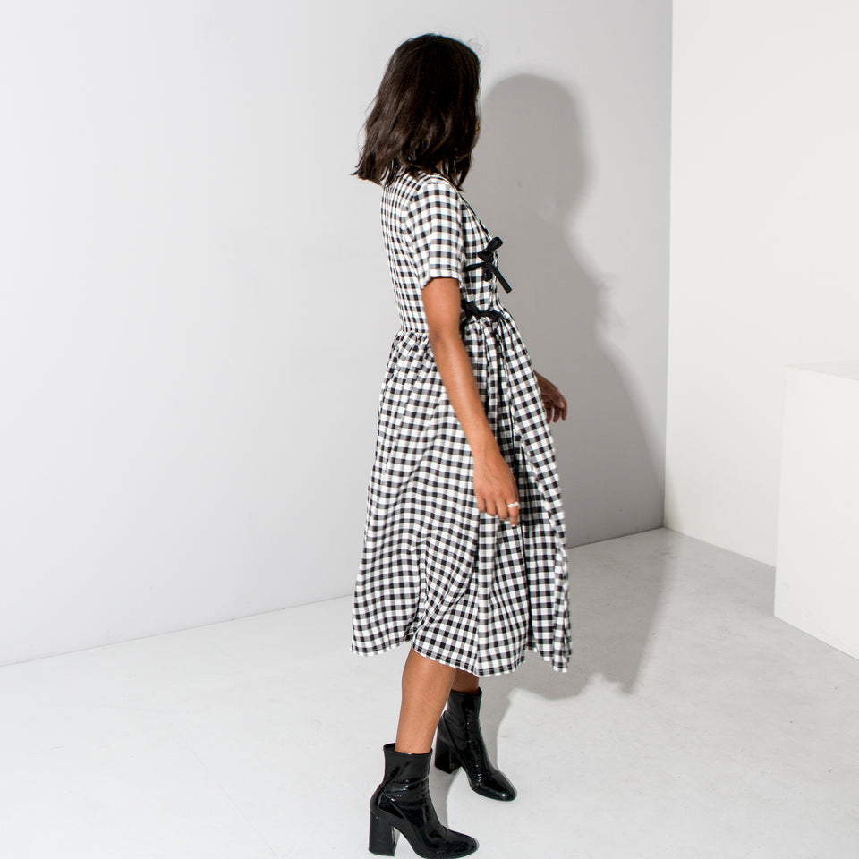 Black Checked Full Skirt Dress*