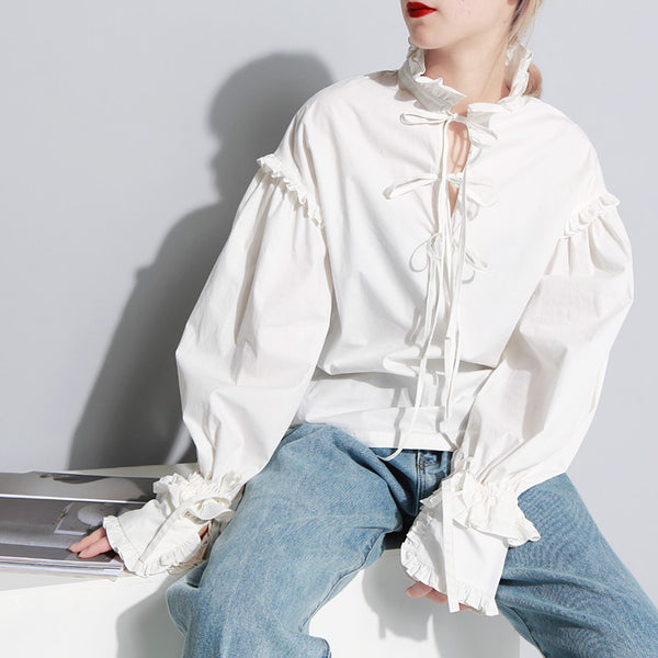 Frilled Funnel Neck Blouse*