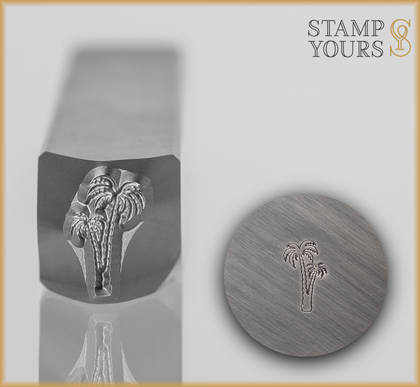 2 Palm Tree Outline Design Stamp - Stamp Yours