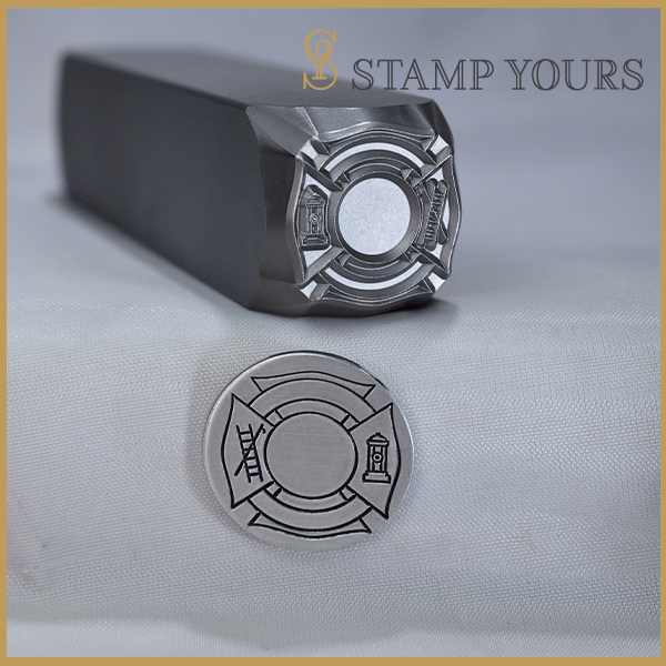 Fireman Maltese Cross Metal Stamp - Stamp Yours