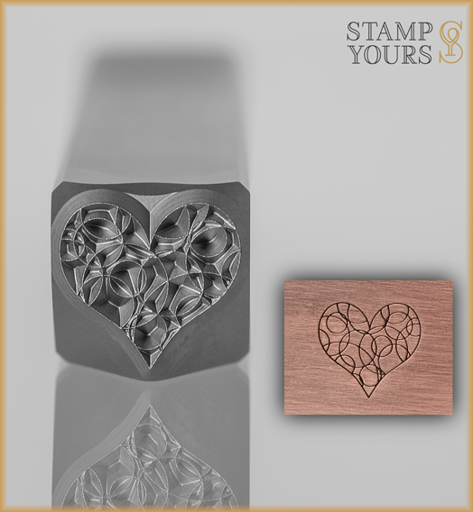 Bubbly Heart Design Stamp 8mm - Stamp Yours
