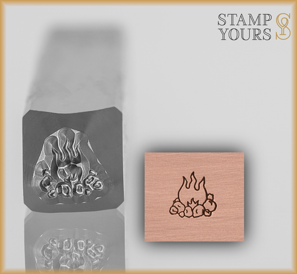 Camp Fire Design Stamp 5mm - Stamp Yours