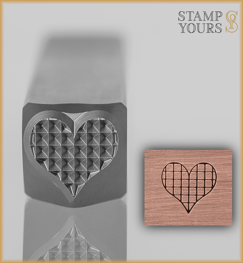 Checkered Heart Design Stamp 8mm - Stamp Yours