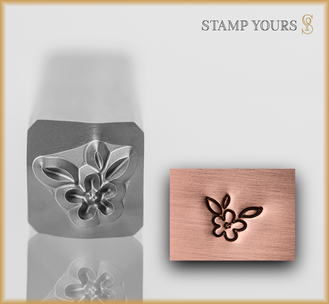 Flower with Leaves Design Stamp - Stamp Yours