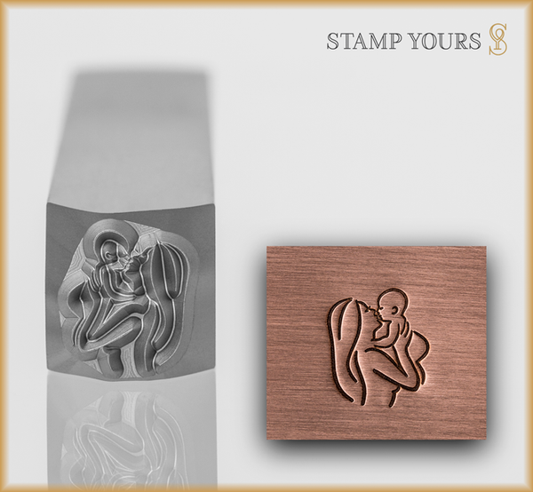 Mother Holding Baby Metal Design Stamp - Stamp Yours