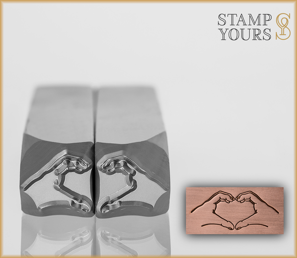 Heart Hands Pair Design Stamps 10mm - Stamp Yours
