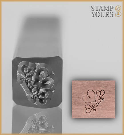 Trio of Hearts Accent Design Stamp 6mm - Stamp Yours