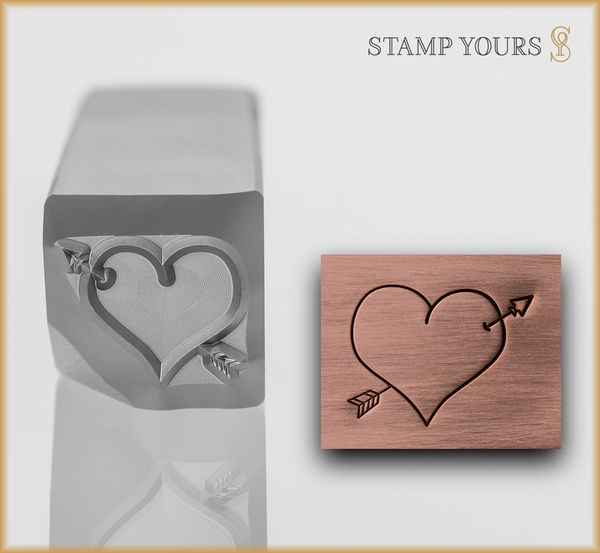 Heart with Arrow Metal Design Stamp - Stamp Yours