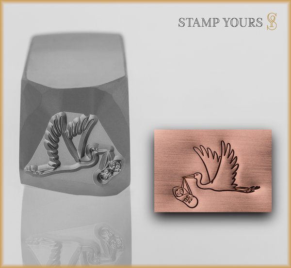 Stork Carrying Baby Metal Design Stamp - Stamp Yours