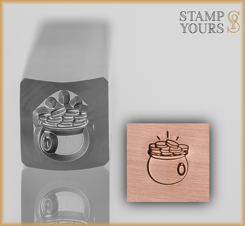 Pot of Gold Design Stamp 7mm - Stamp Yours