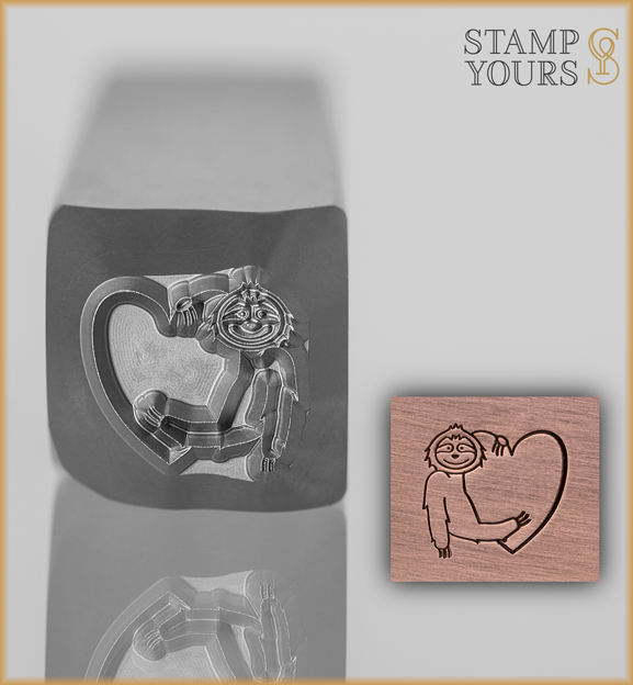 Heart Holding Sloth Design Stamp 8mm - Stamp Yours