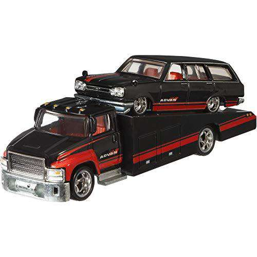 2018 Hot Wheels 50th Anniversary Car Culture Team Transport 3 Car Set, VW Transporter T1 Pickup, Sakura Sprinter, Carry On 1/64 Scale Diecast Vehicles