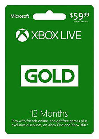 Xbox Live 12 Month Gold Subscription (Physical Card)