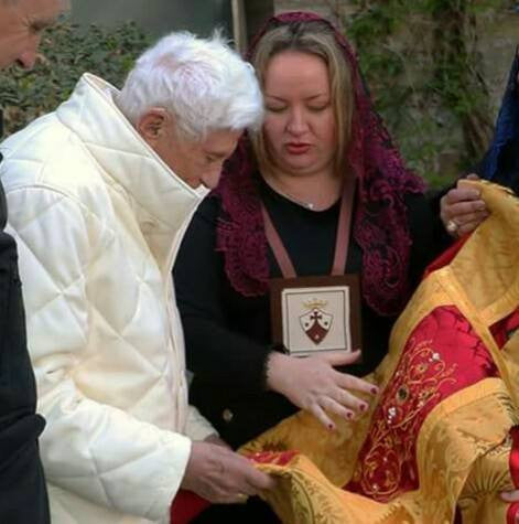 When I presented Pope Emeritus Benedict XVI with his 90th Birthday Di Clara vestments.
