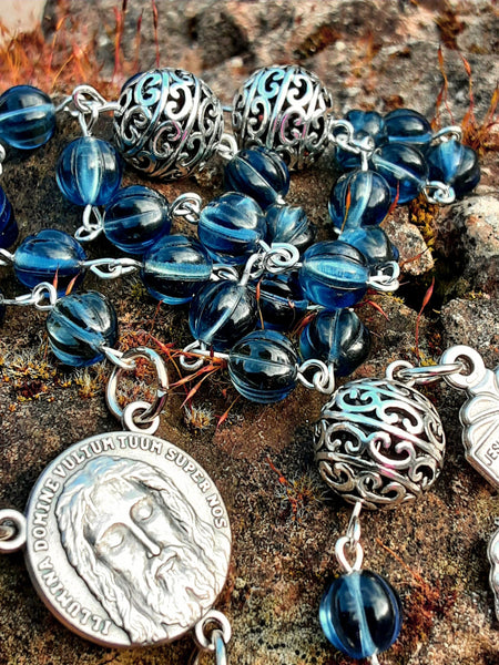 Holy Face Rosary Blue