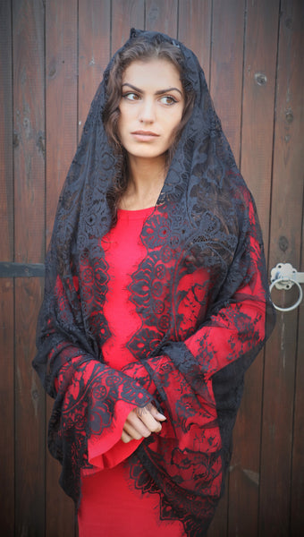 Black Cathedral length Mantilla Veil. - Di Clara Catholic Vestments and Gifts