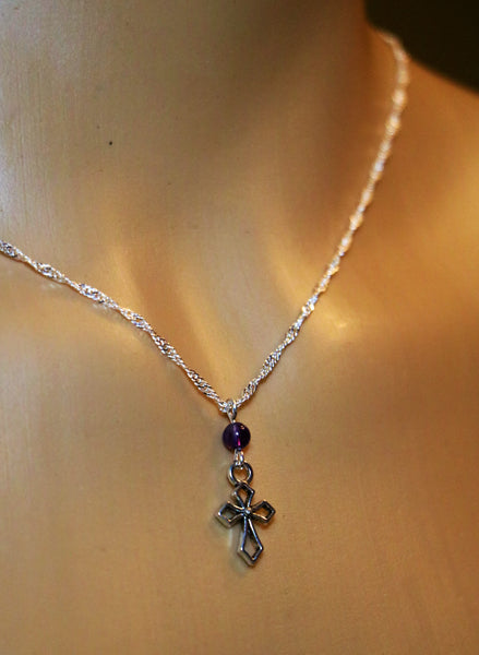 Simple Lent Amethyst Cross Chain. - Di Clara Catholic Vestments and Gifts