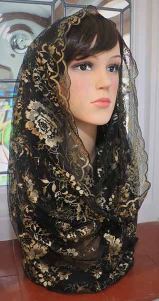 Golden Rosa Infinity Mantilla - Di Clara Catholic Vestments and Gifts