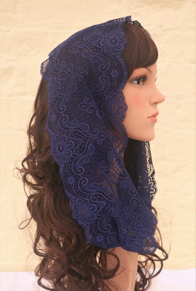 Midnight Blue Mini Mantilla - Di Clara Catholic Vestments and Gifts