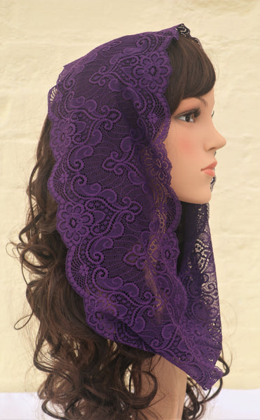 Purple Mini Mantilla - Di Clara Catholic Vestments and Gifts