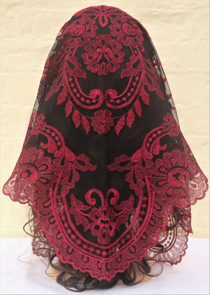 Spanish Cherry Mantilla - Di Clara Catholic Vestments and Gifts