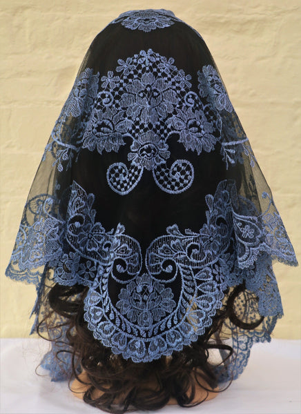 Cornflower Blue Mantilla - Di Clara Catholic Vestments and Gifts