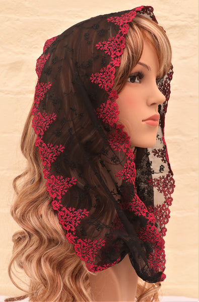 Ruby and Black Mini Mantilla