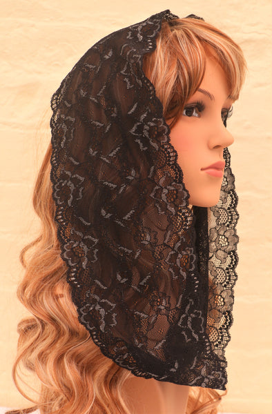 Black and Ivory Mini Mantilla - Di Clara Catholic Vestments and Gifts