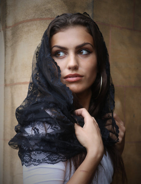 Black Infinity Mantilla - Di Clara Catholic Vestments and Gifts