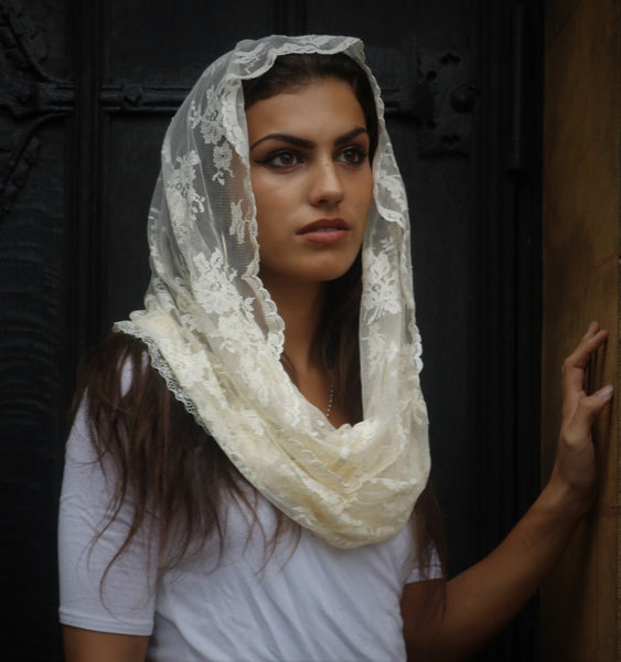 Cream Infinity Mantilla - Di Clara Catholic Vestments and Gifts