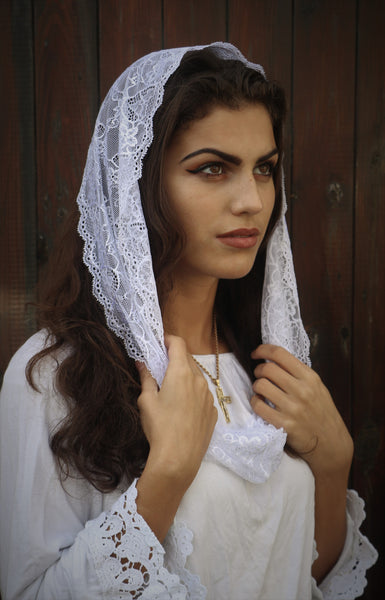 White Mini Mantilla - Di Clara Catholic Vestments and Gifts