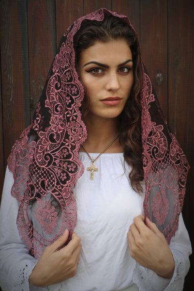 Dusky Rose Sicilian Mantilla - Di Clara Catholic Vestments and Gifts