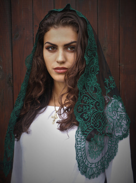 Forest Green Sicilian Mantilla - Di Clara Catholic Vestments and Gifts