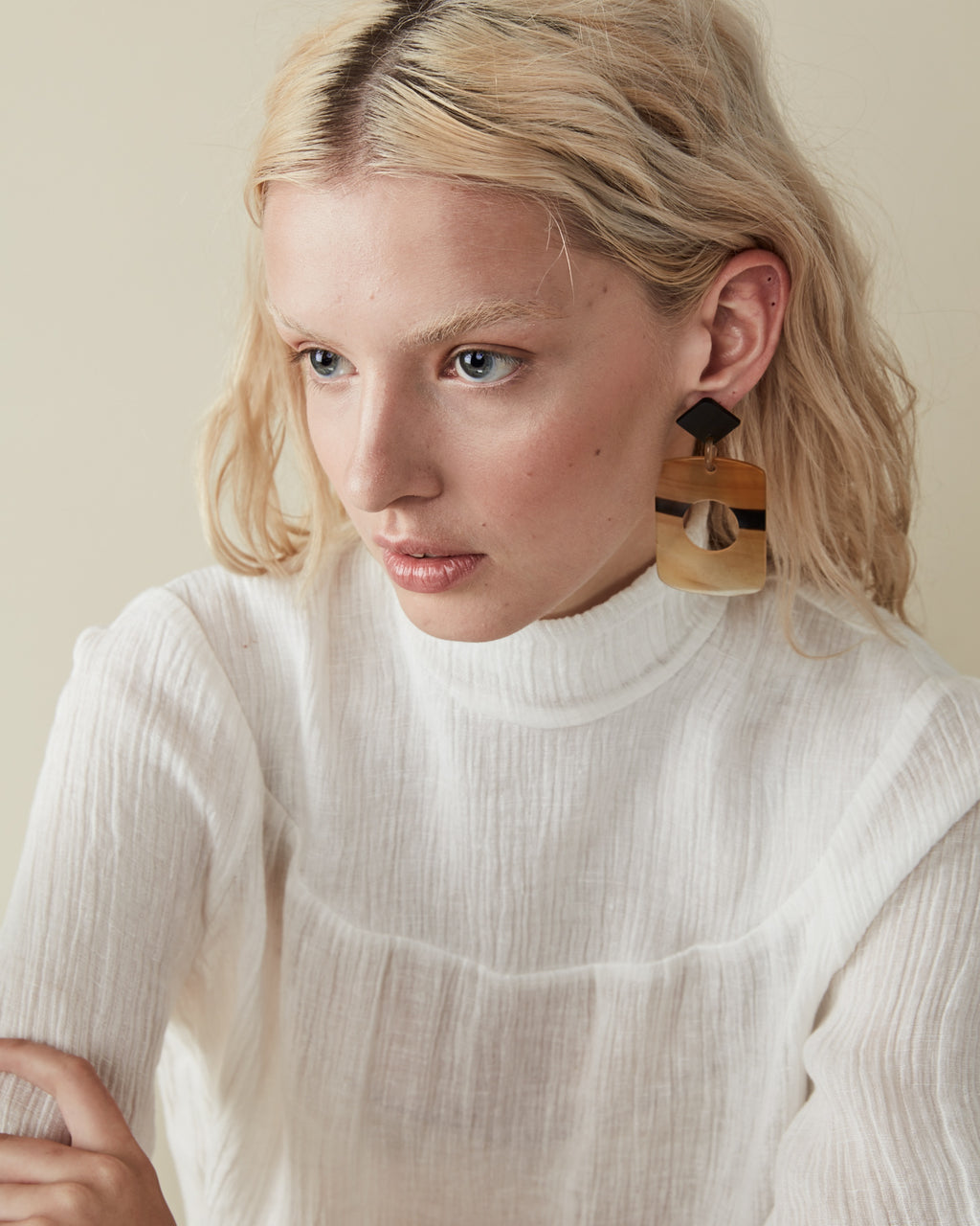 Natural Buffalo Horn Earring No 1 - Opelle bag FW18 - Opelle leather handbag handcrafted leather bag toronto Canada