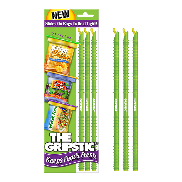 The Gripstic® Keeps Food Fresh 3pk Green Sealing Rods