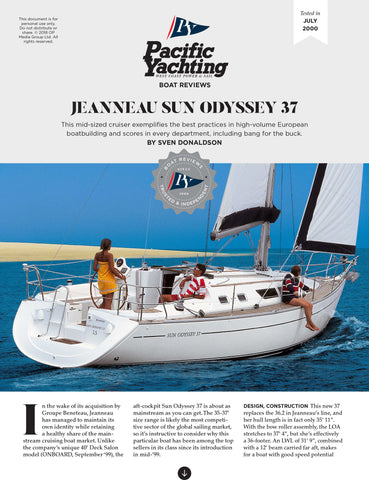 Jeanneau Sun Odyssey 37 [Tested in 2000]