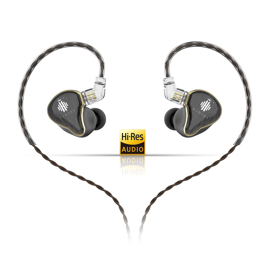 HIDIZS MS4 HiFi in-Ear Monitor Headphones, Hi-Res Audio IEM Earphones with Detachable Cable Four Driver Hybrid (1 Dynamic + 3 Knowles BA) Noise-Isolating Musician Headset - Gears For Ears
