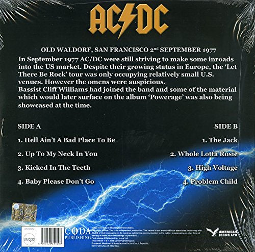 AC DC - Maximum Voltage: In Concert San Francisco 1977 (Limited Edition Blue Vinyl LP) - Gears For Ears