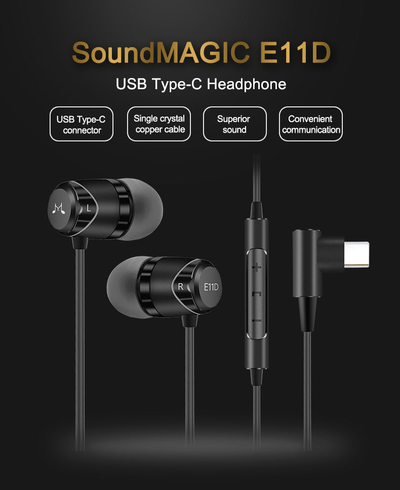 SoundMAGIC E11D In Ear Isolating USB-C Earphones with Remote/Mic and DAC - Gears For Ears