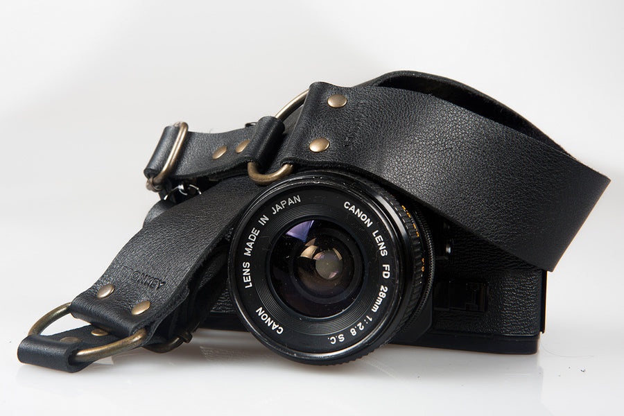 Berlin #401 - Black Leather camera strap
