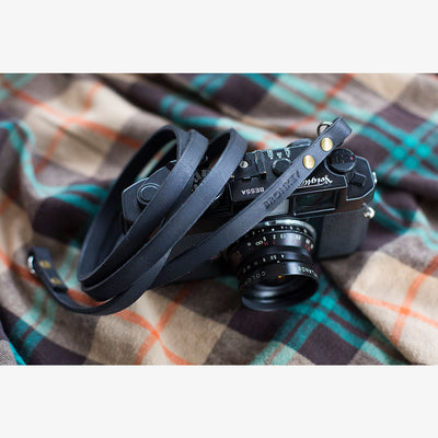 Berlin #101 - Black Leather camera strap